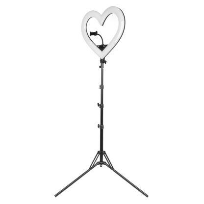 Lampa pierscieniowa ring serce led czarna